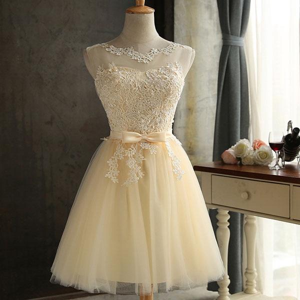 DEERVEADO халат Коктейльные Вечерние платье элегантное платье с низким вырезом на спине Короткие коктейльные платья с регулируемой шнуровкой на спине, платье для выпускного вечера CH604B - Цвет: Champagne Yellow