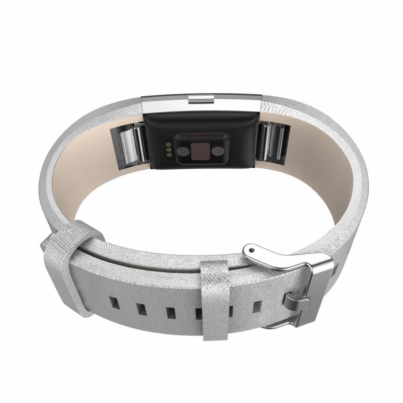 For Fitbit charge 2 bands leather,Accessories Leather Bands strap for Fitbit Charge 2,Fits 5.9-8.1 inch Wrist Silver color