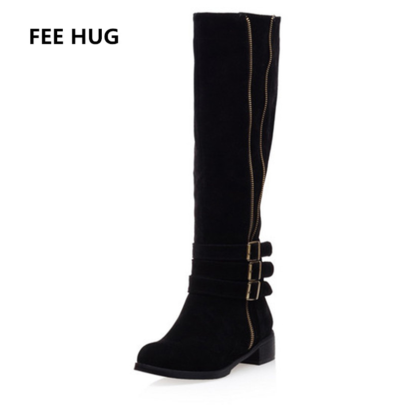Winter Woman's Fashion Boots Female Knee High Martin Boots Square Heels Women' Round Toe Knight Boots Sexy Suede Plush Shoes 43 enmayer green vintage knight boots for women new big size round toe flock knee high boots square heel fashion winter motorcycle