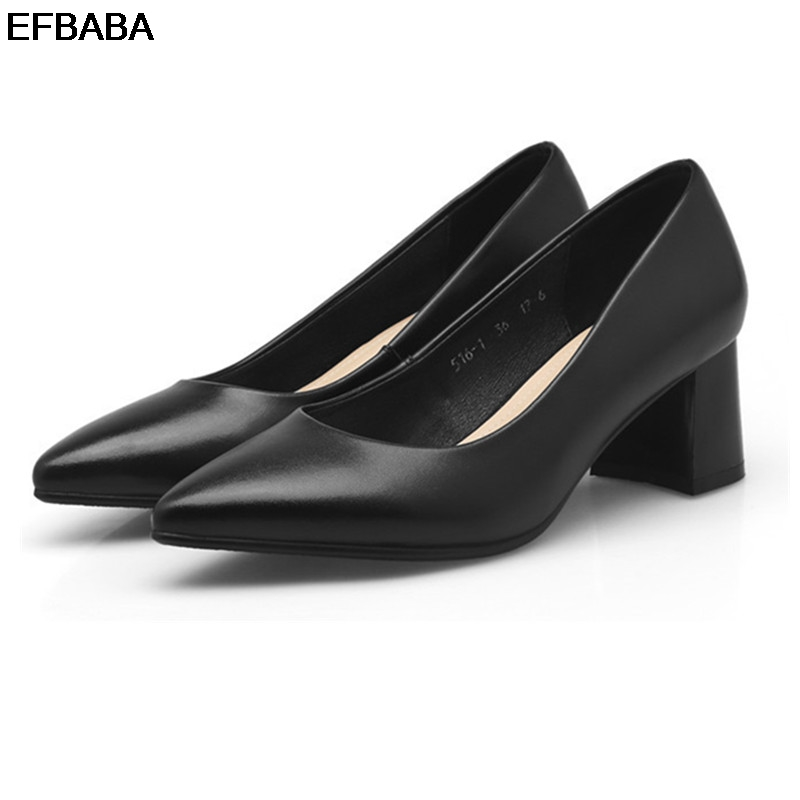 EFBABA Womens Heels Fashion Casual Shoes Leather Women Shoes Platform Slip-on Black Pointed Toe Square High Heel Women Pumps nayiduyun women genuine leather wedge high heel pumps platform creepers round toe slip on casual shoes boots wedge sneakers