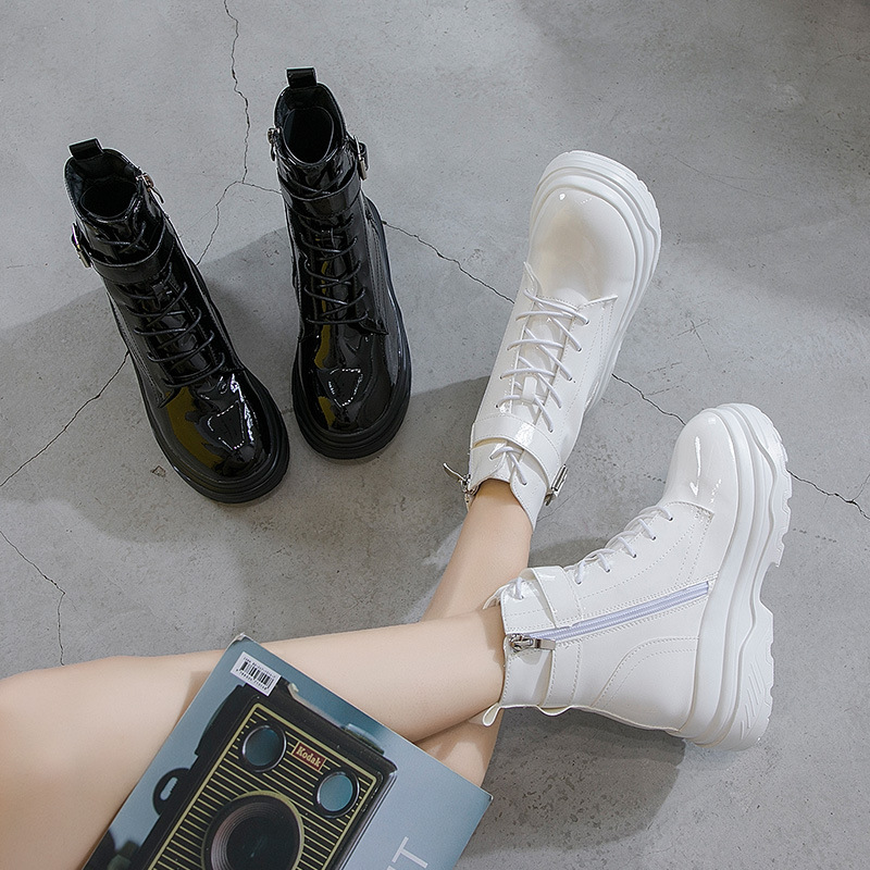 Mujer Jookrrix Transpirable Casual Calzado Chaussure Marca Botas Otoño Martin Moda Plataforma blanco Señora Zapatos Blanco Nuevo Negro R86RX