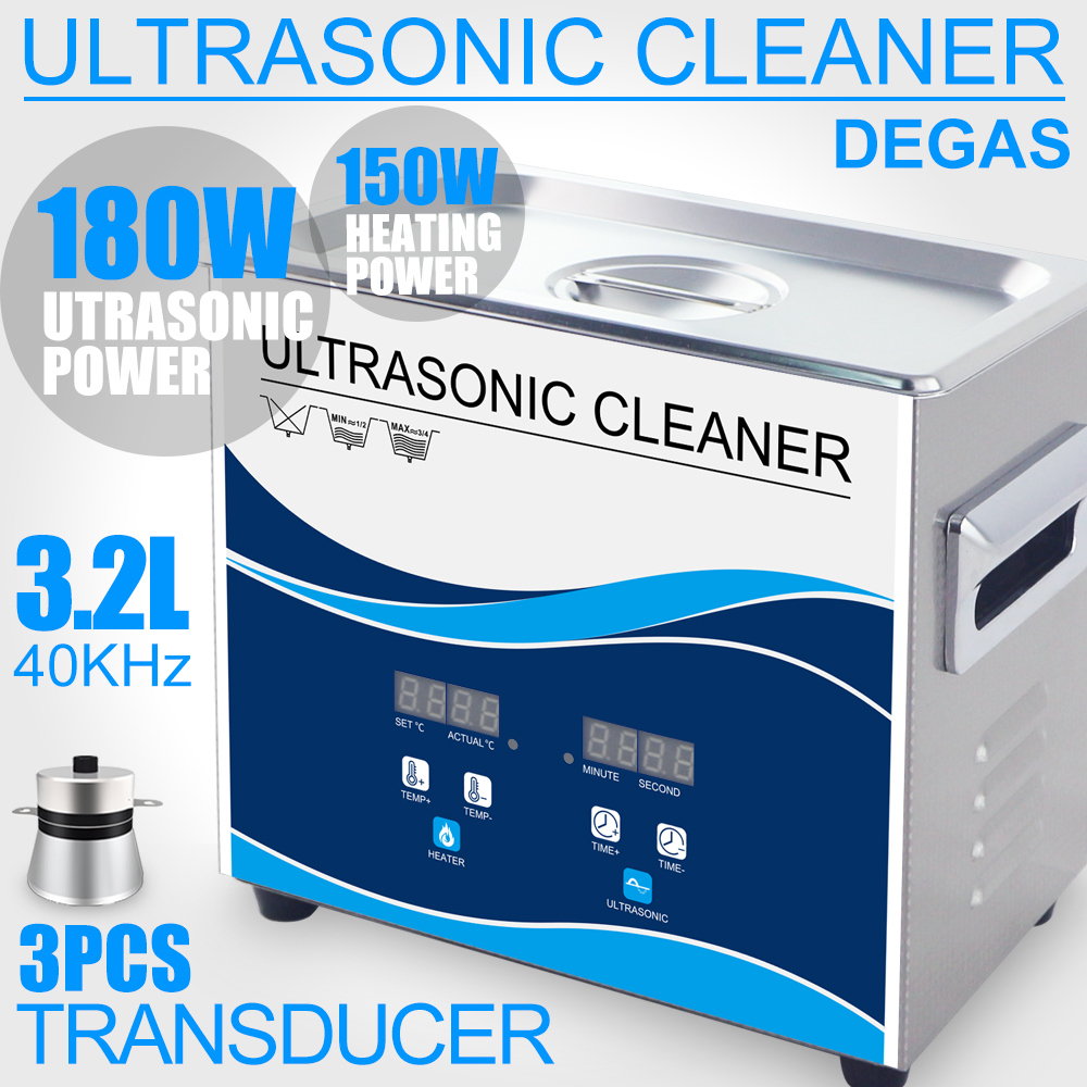 180W Ultrasonic Cleaner 3 2L Power Adjustment Degas Heater Ultrasound Washer SUS Bath Earring Watches Chain