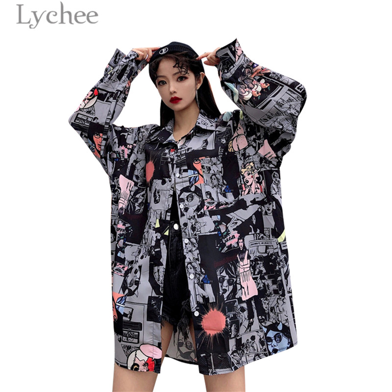 Lychee Cartoon Anime Character Women   Blouse     Shirt   Turn Down Collar Casual Loose Long Sleeve Female   Blouse   Tops Blusa Tops