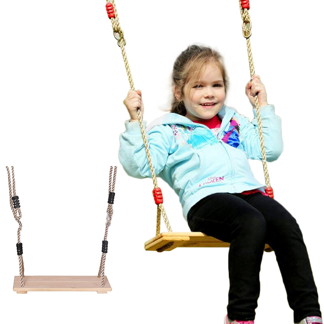 1 Set Baby Kids Creative Outdoor Hardwood Wooden Hanging Swing Seat ...