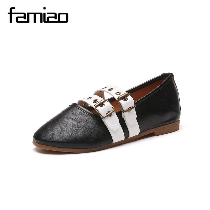 FAMIAO Women Leather Loafers Casual Flats Shoes Woman Slip On Female Shoes Moccasins slipony zapatos mujer ladies shoes
