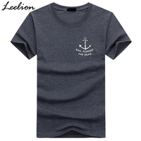 LeeLion Brand 2017 Anchor Print Cotton T Shirt Men Summer Short Sleeve T Shirt Casual Slim