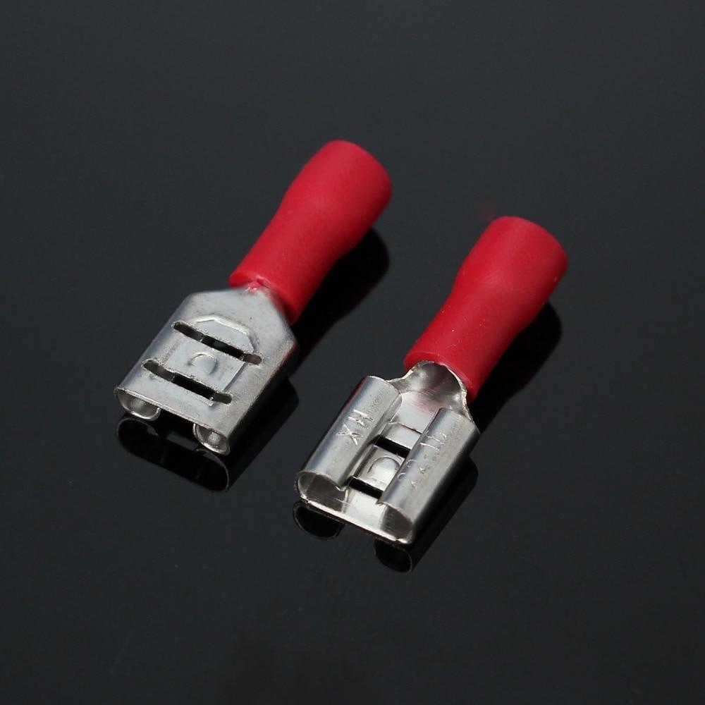 100PCS Red Semi Insulated Electrical Female Wire Spade Terminal ...