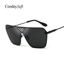 Coodaysuft new escudo espejo fresco marco de metal mujeres señora uv400 gafas de sol de los hombres gafas de sol sin montura moda masculina de gran tamaño squar