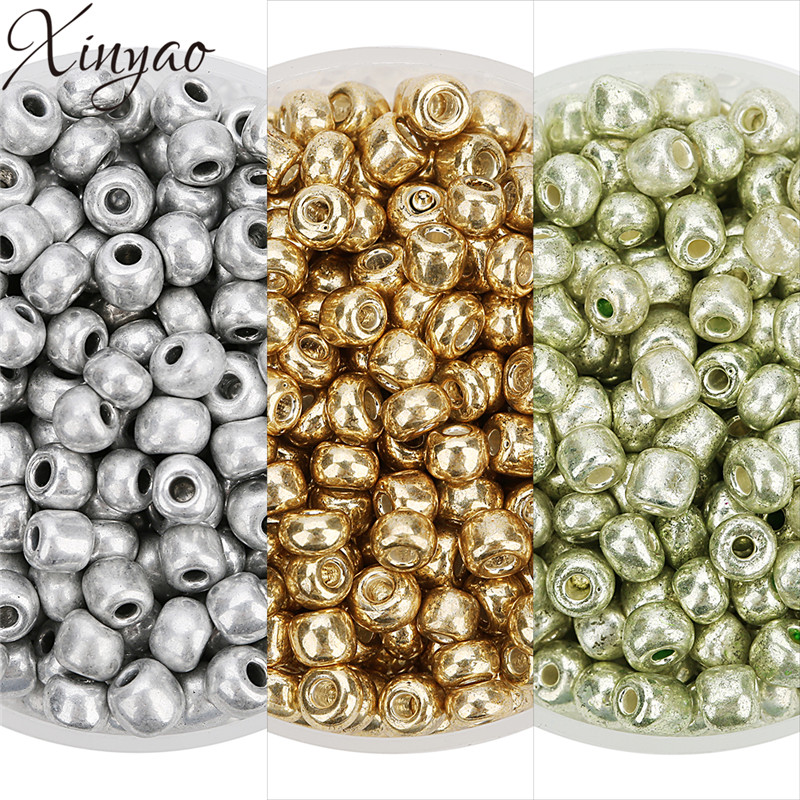 XINYAO 2018 500pcs Fashion Gold/Light Green/Silver Color Glass Beads Seed 3.8mm Loose Spacer Beads Crystal for Jewelry Makings
