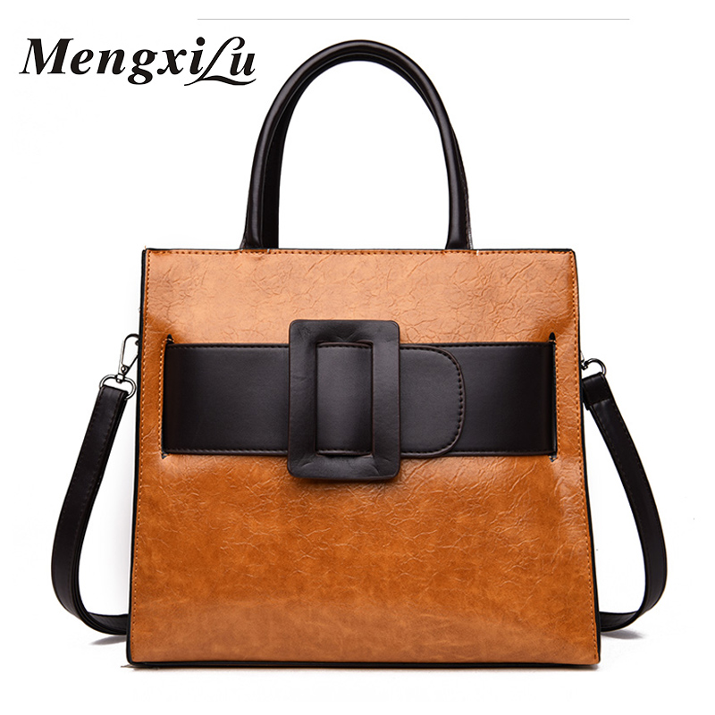 MENGXILU Brand Women PU Leather Handbags Casual Tote Crossbody Bag TOP-handle Bag Fashion Big Bow Design Ladies Shoulder Bags fashionable women s tote bag with cover and pu leather design