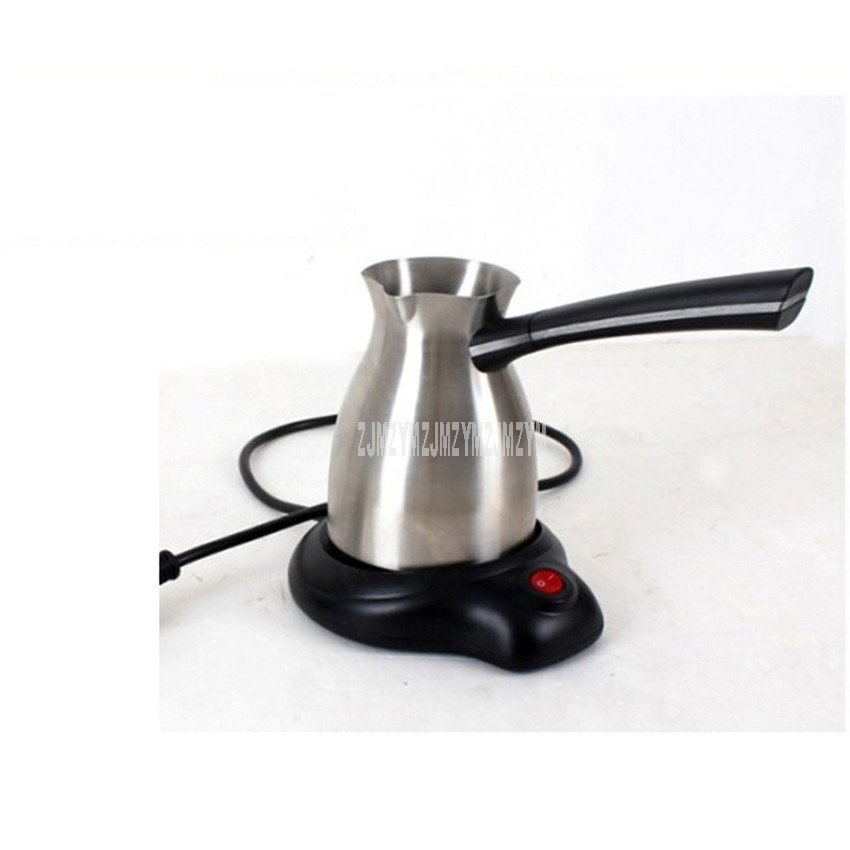 300ML Coffee Maker Electric 304 Stainless Steel Turkey Pot Long Handle Warm Milk Moka Coffee Kettle Tea Maker Turkish Coffee Pot