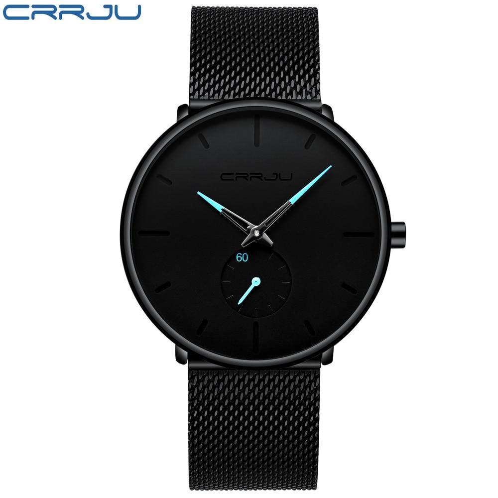 Crrju Fashion Top Brand Mens Watches Luxury Quartz Watch Men Casual Slim Mesh Steel Waterproof Sport Watch Relogio Masculino