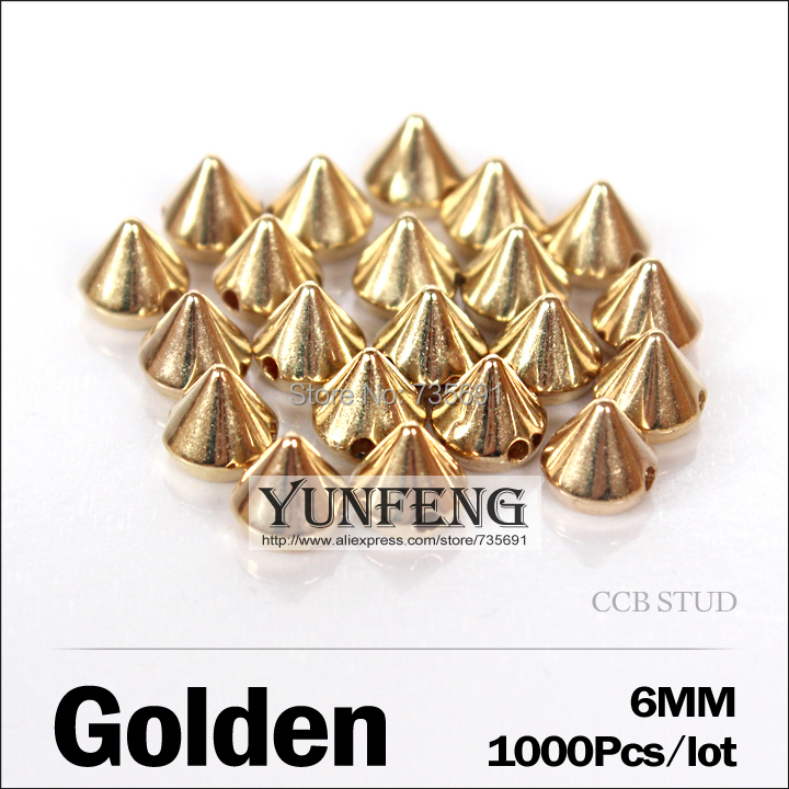 Real New Plating Remaches Spike 6mm 1000pcs/lot Ccb Plastic Rivets Golden Stud Sew On Accessories Use Clothes Shoes Bags