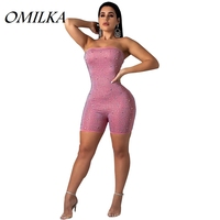 OMILKA 2018 Autumn Winter Women Strapless Sleeveless Bodycon Diamond Playsuits Sexy Club Party Bling Short Rompers Jumpsuits