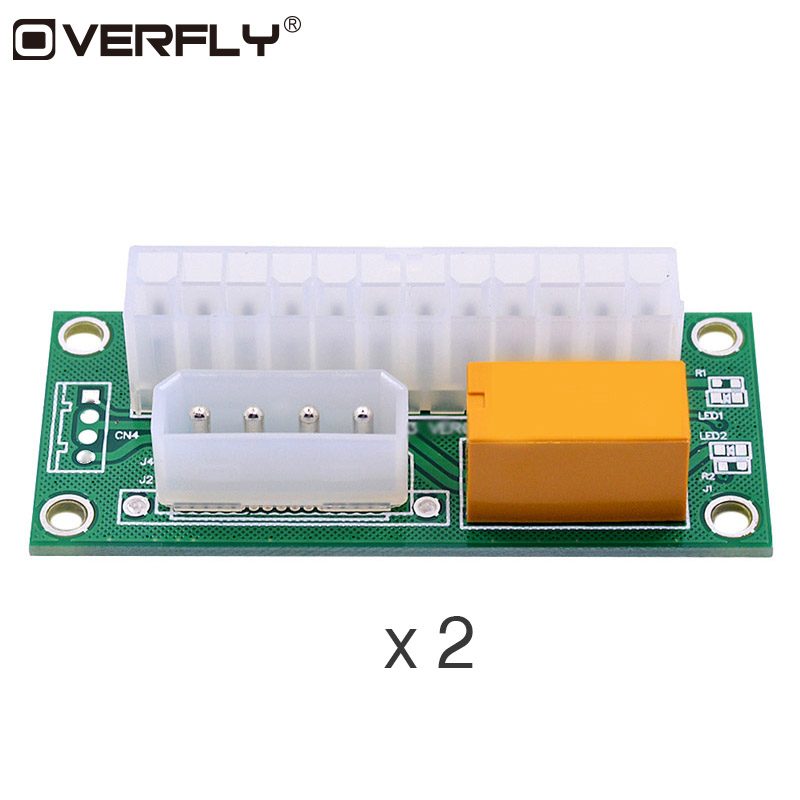 Overfly 2 Pcs  Power Supply for ATX 24Pin to Molex 4Pin Sync Synchronous Starter Extender Card Dual PSU Adapter for BTC Mining pc computer digital lcd power supply tester 20 4p 24 pin psu atx btx itx diagnosis card ssd hdd sata cd com debug card