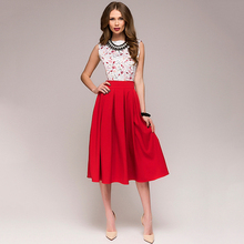 2018 Summer Dress Women Elegant Fashion Printing Bohemian Dress Casual Sleeveless O-Neck Floral Prom Midi Party Dresses Vestido