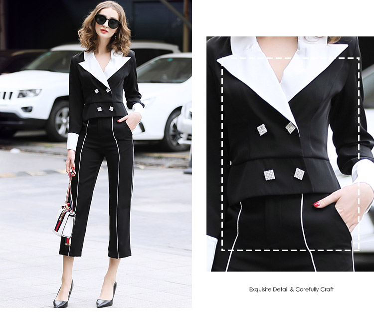 family RMOJUL temperament of the new spring dress 2019 OL bump color suit jacket + 9 minutes of pants fashion set 44