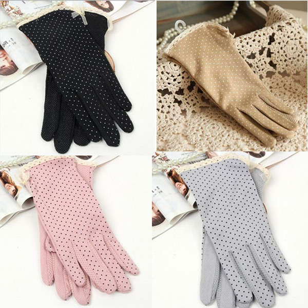 Bow-Gloves Driving Sun-Protection Thin Women's Cotton Summer Non-Slip Dot Short 1-Pair