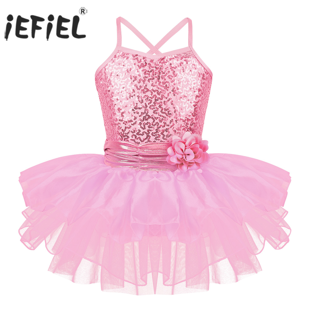 Kids Girls Ballet Leotard Tutu Dress Party Dance Skating Ruffled Dancewear Pink