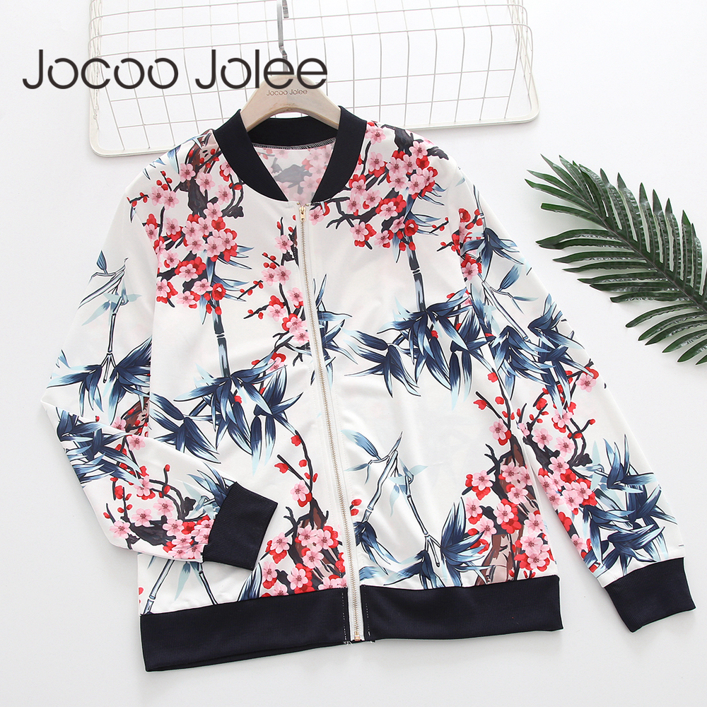 Jocoo Jolee Flower Print Women   Basic   Coats Long Sleeve Zipper Bomber   Jacket   Casual Windbreaker 2018 Autumn Winter Streetwear