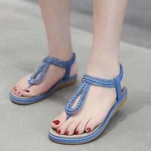 Image 5 - TIMETANG/Летняя обувь; Женские пляжные вьетнамки в богемном стиле; Мягкие сандалии на плоской подошве; Женская Повседневная Удобная обувь; Большие размеры 35 42