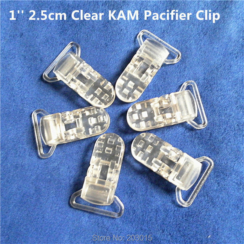 50pcs 1'' 25mm Ribbon Gap Clear Transparent KAM Plastic Baby Pacifier Dummy Soother Holder Chain Clips Suspenders Clips
