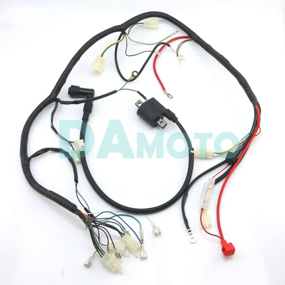 Full Wiring Harness Loom Ignition Coil CDI D8EA For 150cc 200cc 250cc 300cc  Zongshen Lifan ATV Quad Buggy Electric Start Engine