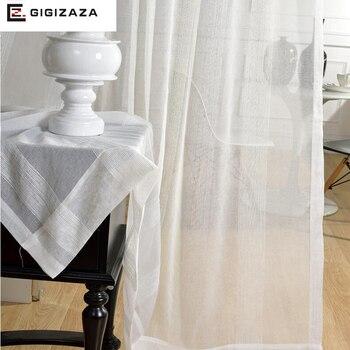 Cortinas de gasa de señor John White, para sala de estar, GIGIZAZA, cortina de tul de bolsillo, proceso puro de ventana barata, tamaño completo