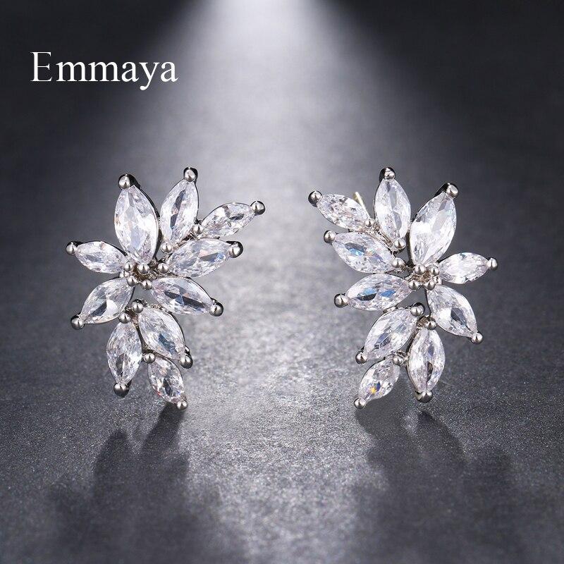 Emmaya Brand Fashion Simple AAA Cubic Zircon Three Colors Flower Shape Earrings for