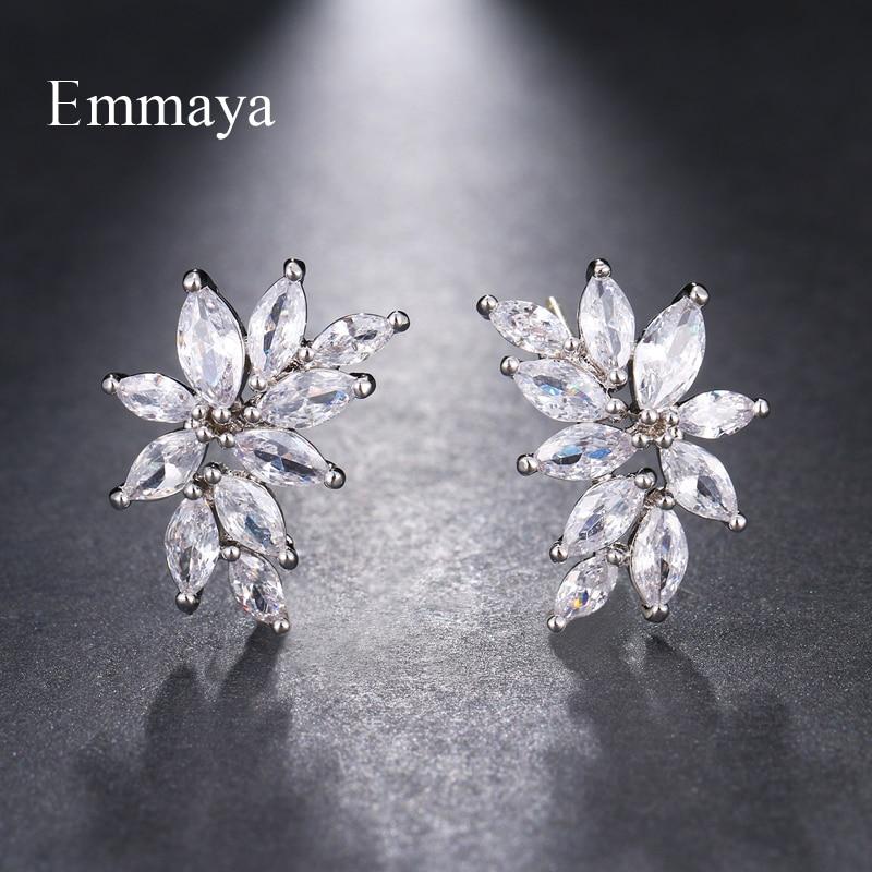 Emmaya marque de mode Simple AAA cubique Zircon trois couleurs fleur forme boucles d'oreilles pour les femmes populaire mariage anniversaire bijoux cadeau