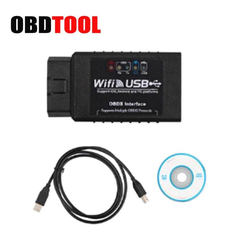 WIFI ELM327 Interfaccia USB OBD2 OBDII Auto Scanner OLMO 327 Wifi OBD ii Strumento di Diagnostica Supporto Android/iphone JC10
