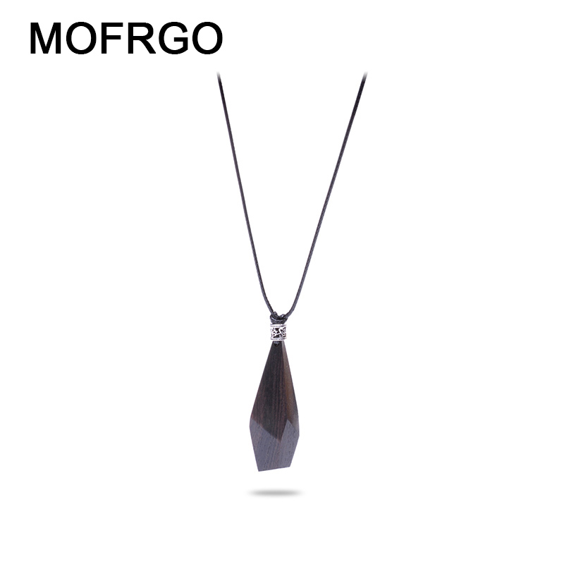 MOFRGO Original Design Ebony Geometric Necklace Hand-Polished Simple And Stylish Personality Necklace Pendants For Men Women pair of stylish cart and letters pendants earrings for women