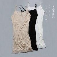 100% Silk Knit Stretchy Lace Full Slip Sleepwear Chemise Adjustable Strap SG321