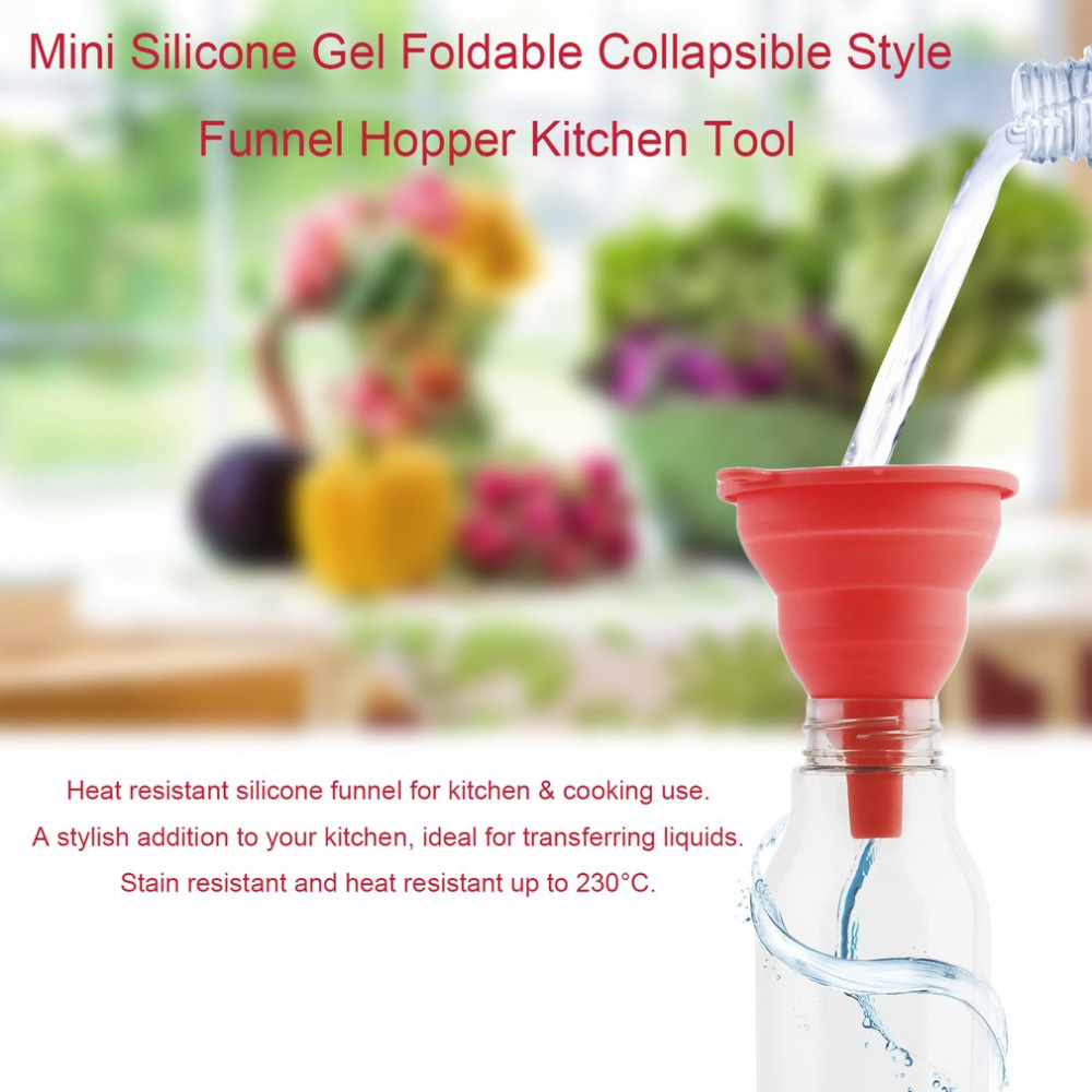 Protable Mini Silicone Gel Foldable Collapsible Style Funnel Hopper Kitchen Tool Practical Home Water Filler Tool