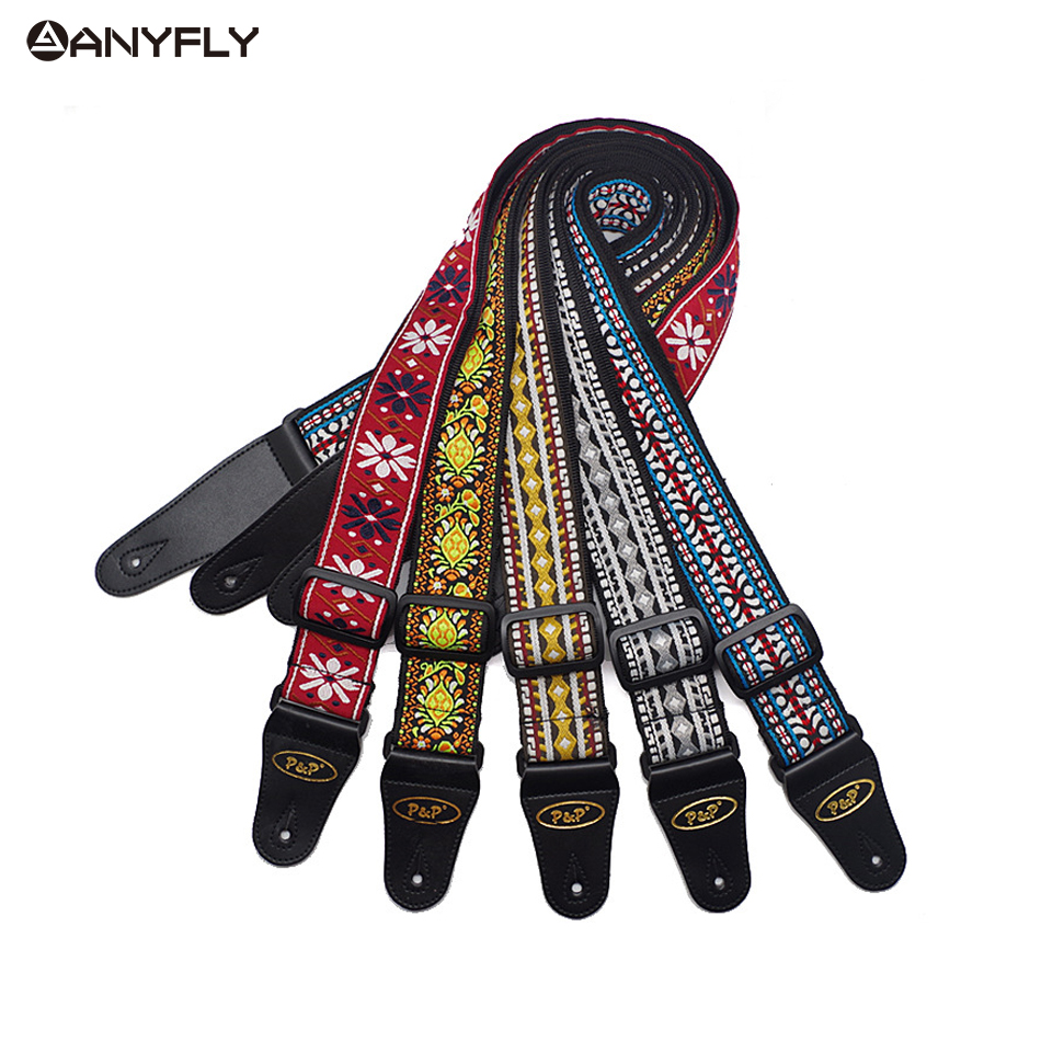 Acoustic Electric Guitar Strap Embroidery Ethnic Style National Wind Adjustable Leather Ends Musical Accessories Straps hawaii guitar ukulele guitar pure cotton woven strap belt adjustable leather end wholesale musical accessories