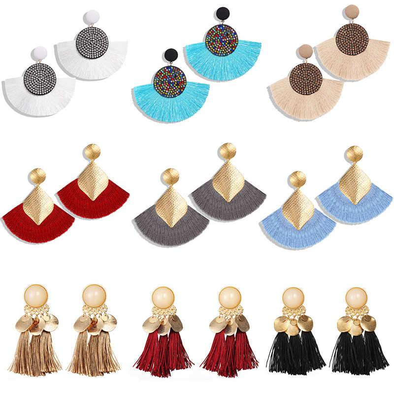 17 км богемные круглые висячие серьги с кисточками для женщин 7 цветов длинная Ткань Подвеска и серьги-подвески ткань массивные этнические ювелирные изделия