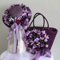 New purple straw bags with flowers basin cap fisherman hat lady straw bag walk show and vacation