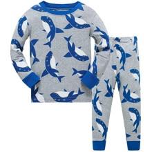 New Children Pajamas Sets Cartoon Shark Printed Kid Boys Sleepwear Set Cotton Long Sleeve Baby Boys Pajamas Clothing Set цена и фото