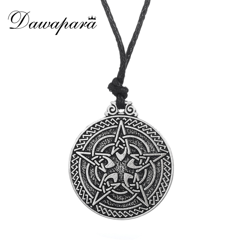 Dawapara Knot Pentacle for Protection Wiccan Pentagram Necklace Jewelry Pagan Irish Pendant Colgantes Collares Largos Vintage