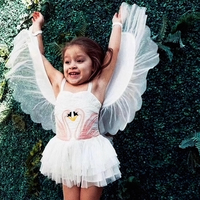 2018 Girl Summer dress Flamingo baby kids Removable Angel Wings dresses white sleevesless clothes swan dress Party garment