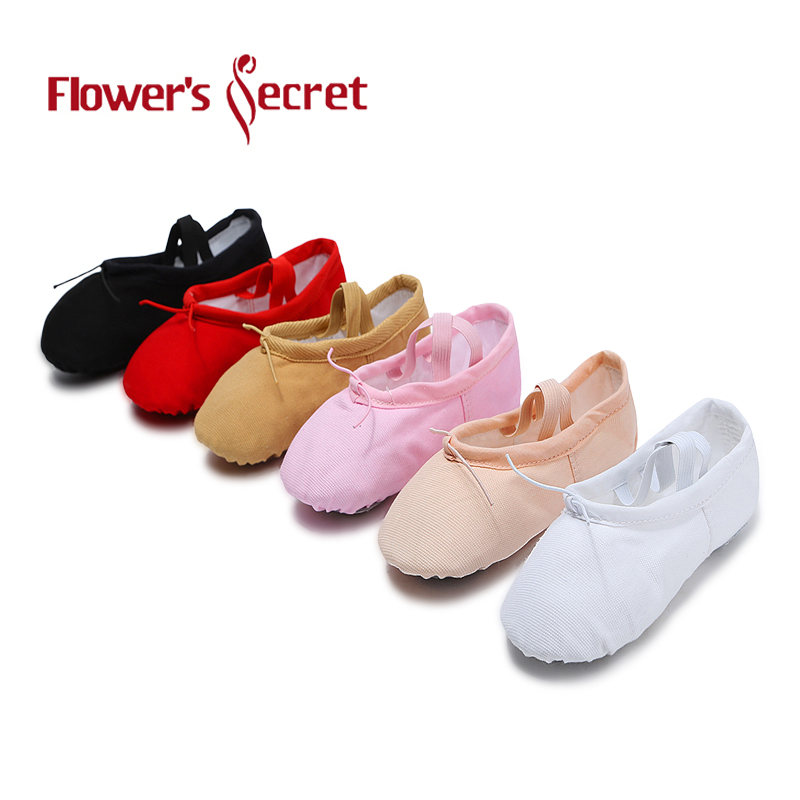 Flower's Secret Canvas Soft Ballet Shoes Dance Shoes Yoga Sneakers Shoes Children's Girls Slippers According The CM To Buy