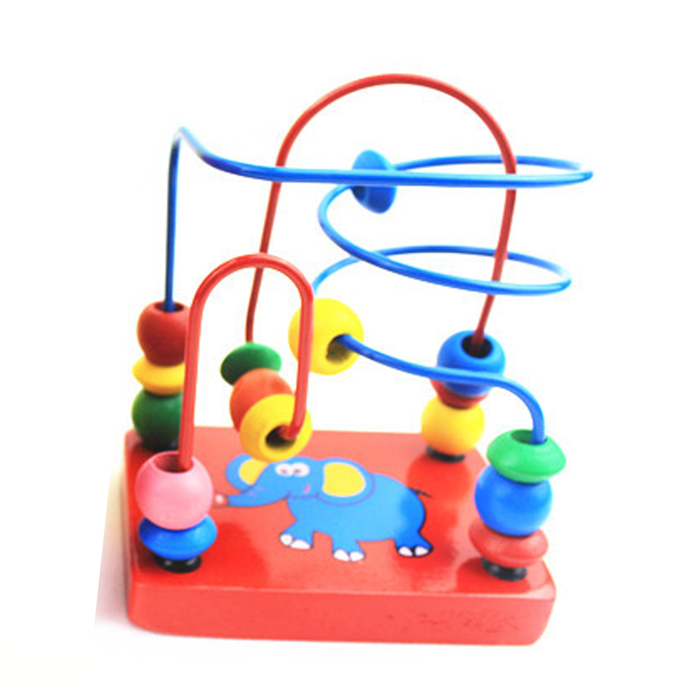 1 Pc Mini Around Beads Baby Wooden Toy Educational Children Kids Infant Colorful Mini Cute Cartoon Elephant Gift Toy duck around beads toy baby wooden toys duckling trailer mini around beads educational game toys for kids children gift