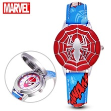 High Quality Kids Flip Watches Super Hero Spiderman Waterproof Anime Leather Strap Children Watch Reloj Hombre for Boy Girl Gift