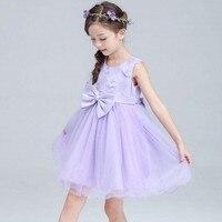 Çocuklar Kızlar için Butik Elbise 2018 Yaz Toddler Prenses Çiçek Elbise düğün Bebek Kız Mor Parti Elbise 8 10 12 14 Yıl