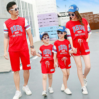 Parent child short sleeved T shirt suit Summer 2018 Mother daughter family outfit in a three letter sportswear family Shorts