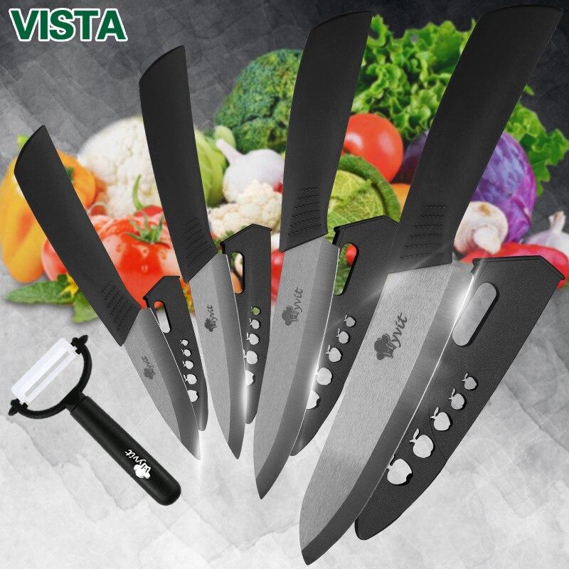 Кухня ножи готовить комплект Керамика ножи готовить набор 3 4 5 6 дюймов циркония Керамика черный клинок обстрагывая фруктовый Vege шеф-повар Ножи