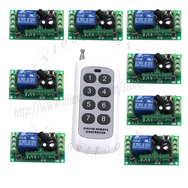 2015 DC Wireless long range remote relay Control Light Switch 12V 8CH SMD Power Remote Switch System 315/433.92MHZ Jog SKU: 5169 dc 12v photoresistor module relay light detection sensor light control switch l057 new hot