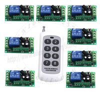 2015 DC Wireless Long Range Remote Relay Control Light Switch 12V 8CH SMD Power Remote Switch
