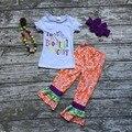 Niñas bebés ropa de Halloween niñas I'm so-Boo tiful Es aterrador trajes niñas Damasco ruffle pant con matmching accesorios