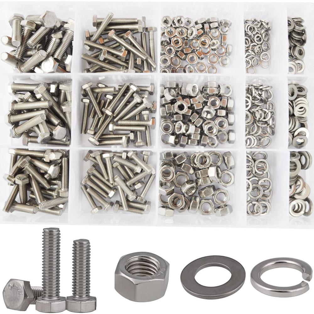 Hex Flat Head Bolt Thread Metric Hexagon Bicycle Machine Screw Nut Washer Assortment Kit Set 304 Stainless Steel M4 M5 M6